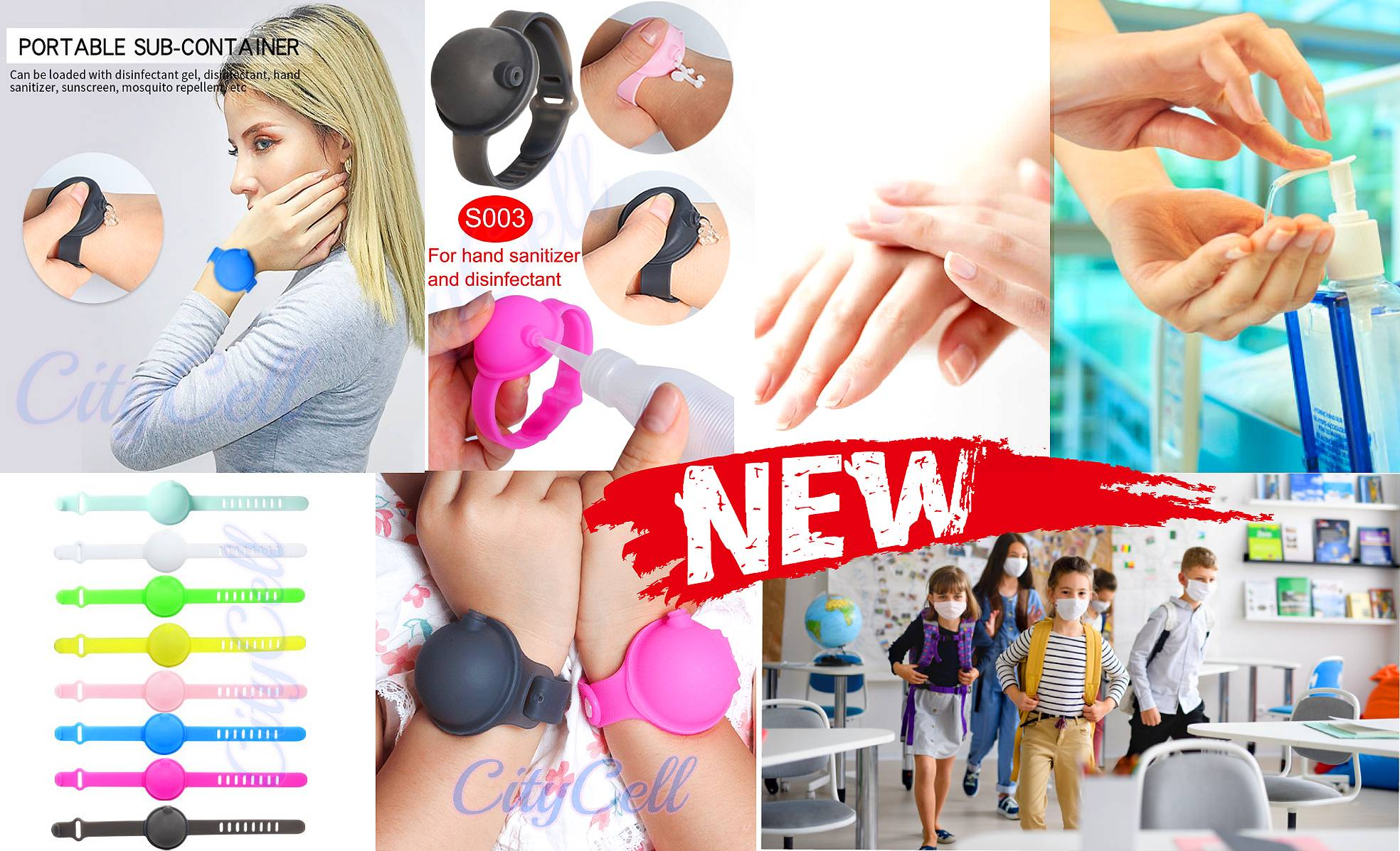 PORTABLE SUB-CONTAINER Antiseptic recipe portable bracelets CityCell+ Cildrens Kids speacial for scool Best Price Limassol Cyprus Paphos Larnaka Nicosia